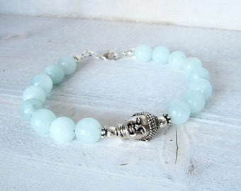Silver Light Blue Amazonite Buddha Bracelet, Silver Buddha Wrap, Frozen Blue Stone Buddha Bohemian Beaded Bracelet, Amazonite Bracelet