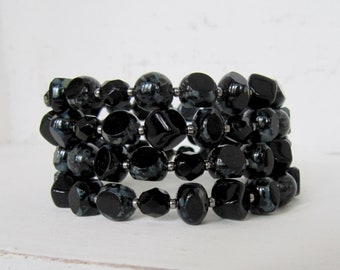Antique Black Memory Wire Bracelet, Dark Rustic Black and Pewter Beaded Wrap Bracelet