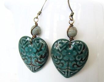 Antique Gold Teal Heart Earrings, Bohemian Heart Earrings, Copper and Teal Enameled Charm Earrings