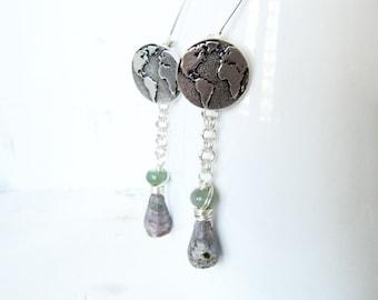 Silver World Map Earrings, Natural Purple and Green Silver Globe Earrings, Bloodstone and Fancy Jasper World Map Wire Wrapped Earrings