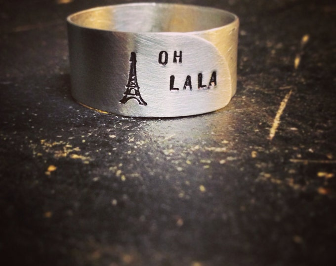 "PRIORITY SHIPPING Hand Cut Metal Stamped ""Oh La La"" Eiffel Tower Ring"