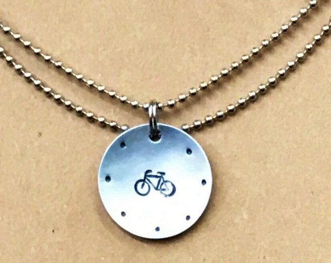 PRIORITY SHIPPING Hand Cut Metal Stamped Framed Bike Bicycle Tag Pendant Charm