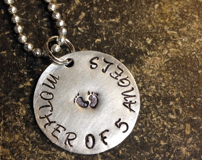 Priority SHIPPING Mother of Angels Custom Stamped Necklace