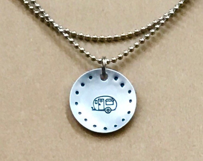 PRIORITY SHIPPING Hand Cut Metal Stamped Framed Camper Tag Pendant Charm