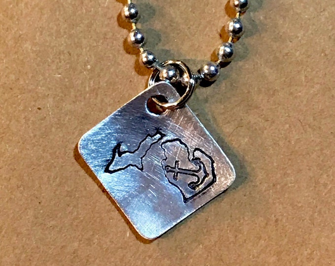 PRIORITY SHIPPING Hand Cut Metal Stamped Michigan Anchor Tag Pendant