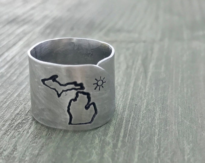 PRIORITY SHIPPING Aluminum Metal Stamped Michigan Sun Ring