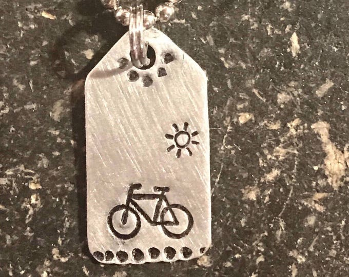 Custom for Cyclistuff - Tiny Hand Cut Metal Stamped Bike Bicycle in the Sunshine Pendant Charm