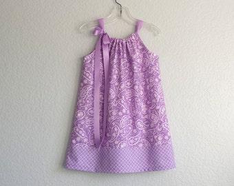 New! Girls Lavender Pillowcase Dress - Purple & White Paisley Print Dress - Girls Purple Sundress - Size 12m, 18m, 2T, 3T, 4T, 5, 6, 8 or 10