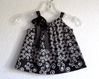 Baby Girls Black Dress and Bloomers - Black and White Pillowcase Dress with Yellow Daises - Summer Clothes - Size Nb, 3m, 6m, 9m, 12m or 18m