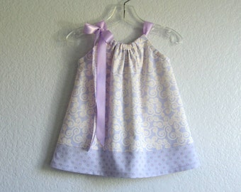 Baby Girls Lavender Pillowcase Dress - Purple Dress and Bloomers Outfit - Infants Purple & Cream Sun Dress - Size Nb, 3m, 6m, 9m, 12m or 18m