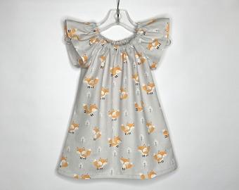 Fox Dress Fox Twirl Dress Mustard Navy Girls Dress Baby Girl Dress Toddler Twirl Dress