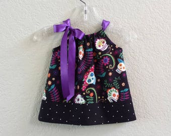"Baby Girl Day of The Dead Dress & Bloomers - Infant Sugar Skull Dress - ""Dia de los Muertos"" Sun Dress -  Size Nb, 3m, 6m, 9m, 12m or 18m"