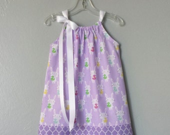 New! Little Girls Purple Pillowcase Dress - White Bunnies on Lavender - Girls Purple Summer Clothes - Size 12m, 18m, 2T, 3T, 4T, 5 or 6