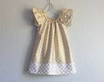 Last One! Gold and White Flutter Sleeve Dress - Girls Metallic Gold Dress - Little Girls Gold Party Dress - Size 12m, 18m 2T or 3T