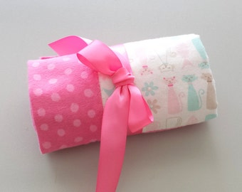 Handmade Flannel Baby Blanket - Sitting Kitties and Polka Dots - Pink & White - Reversible Baby Blanket, Baby Shower Gift, Receiving Blanket