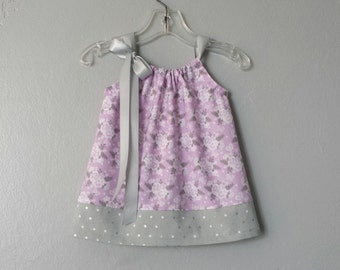 Baby Girls Lavender Dress and Bloomers Outfit - Lavender and Grey Floral Pillowcase Dress - Flowers & Dots - Size Nb, 3m, 6m, 9m, 12m or 18m
