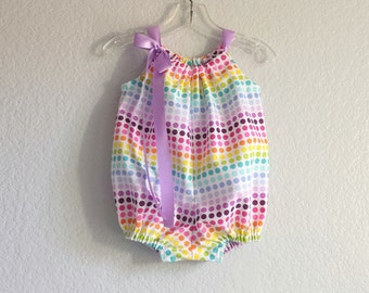 Baby Romper in Rainbow Colors - Baby Girls Bubble Romper - Rows of Colorful Polka Dots - Infant SunSuit - Size Nb, 3m, 6m, 9m, 12m, 18m, 24m