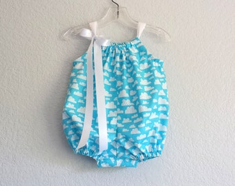 Baby Girls Sky Blue Bubble Romper - Infant Sun Suit - White Fluffy Clouds on Blue - Baby Girls Layette - Size Nb, 3m, 6m, 9m, 12m or 18m