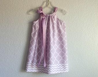 Girls Lavender Pillowcase Dress - White Quatrefoil Print on Lavender - Girls Purple and White Sun Dress - Size 12m, 18m, 2T, 3T, 4T or 5