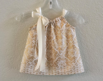New! Baby Girls Gold and Cream Party Dress - Metallic Gold Damask Dress - Infants Gold Christmas Dress & Bloomers - Sizes NB through 18m