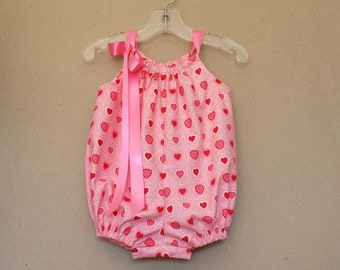 Baby Girls Pink Bubble Romper - Red Hearts with Pink and White - Infant Sun Suit - Pink & Red Romper - Size Nb, 3m, 6m, 9m, 12m, 18m or 24m