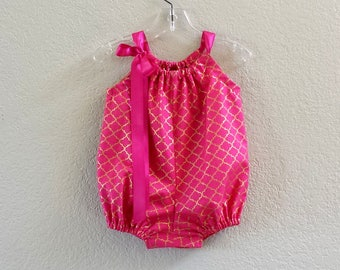 Baby Girls Pink Bubble Romper - Fuchsia and Gold Romper - Infant Sun Suit - Pink and Metallic Gold - Size Nb, 3m, 6m, 9m, 12m or 18m