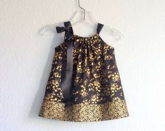 New! Infant Black and Gold Holiday Dress - Dress and Bloomers Outfit - Baby Girls Party Dress - Size Newborn, 3m, 6m, 9m, 12m or 18m