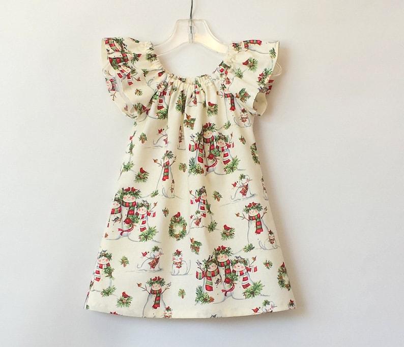 5fe810bb4be New Girls Snowman Family Flutter Sleeve Dress Vintage