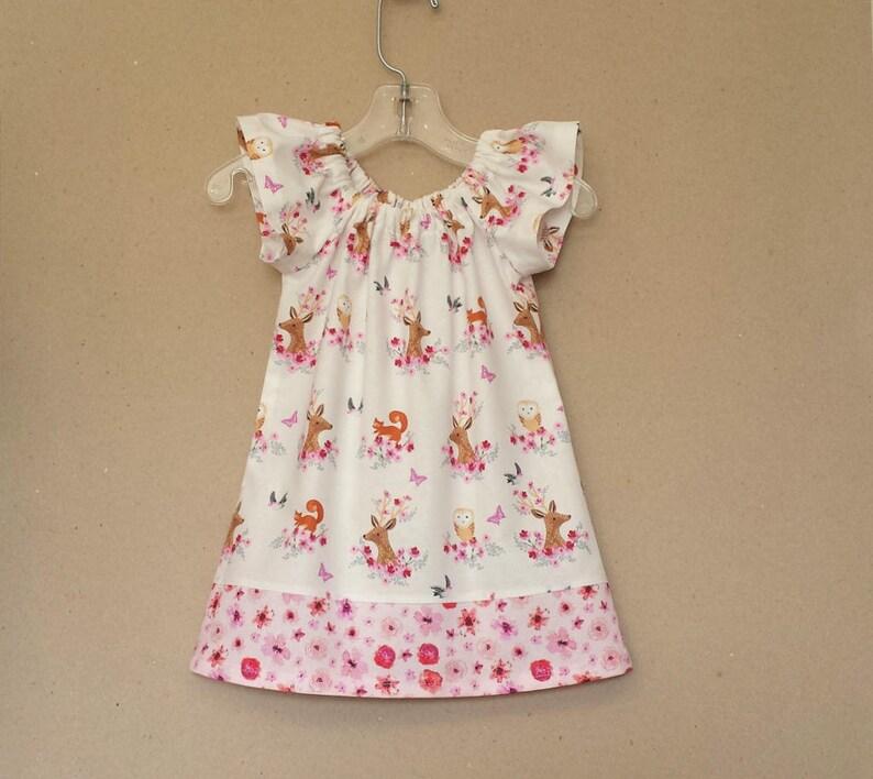 e2b0a80aa7e Baby Girls Woodland Deer Dress Flutter Sleeve Dress