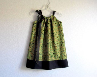 Girls Elegant Christmas Dress - Metallic Gold, Red and Green - Mistletoe and Berries on Black - Holiday Party Dress - Sizes 12m thru 10