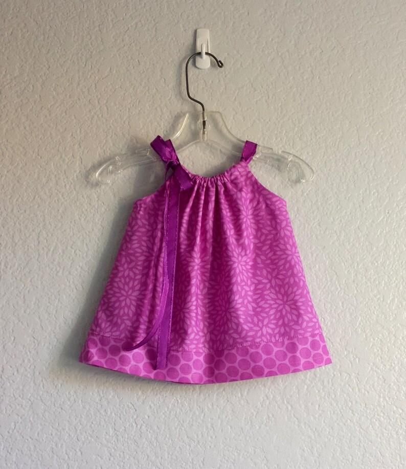 1c7702e4753b Baby Girls Purple Easter Dress Purple Flowers and Polka Dots