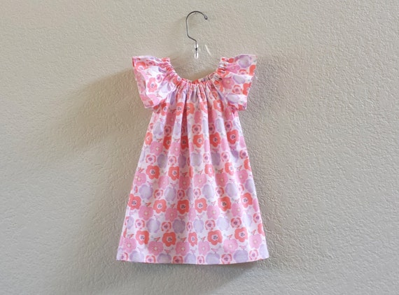 4f1180982d5 Girls Floral Flutter Sleeve Dress Coral and Purple Pansies