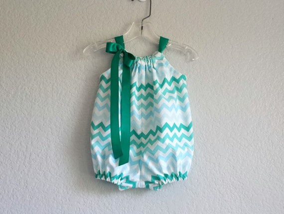 466af43fb20 Baby Girl Chevron Stripe Bubble Romper Aqua Teal and White