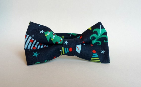 dbd721030618 Little Boys Christmas Bow Tie Navy Blue with Christmas Trees | Etsy