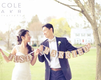 Just Married Banner /  Wedding Decorations - Made to Order