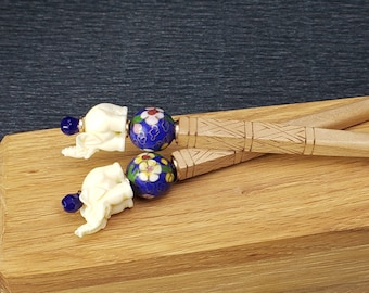 Pair of Hairsticks Vintage Blue Floral Chinese Cloisonne & Ivory colored Elephants