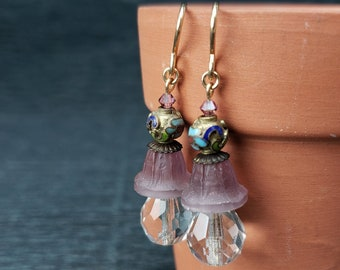 Rare Amethyst Purple Antique Etched Glass, Vintage Cloisonne, Faceted Glass Gold Filled Earrings