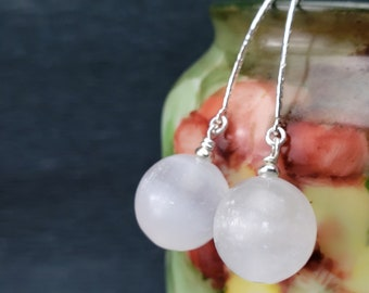 Bold Round Glowing Shimmery Selenite 12 or 14mm Beads and Sterling Silver Marquis Earrings