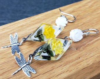 Vintage Reverse Carved Yellow Roses, Mother of Pearl Roses, Dragonfly And Sterling Silver Earrings