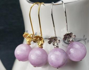 Bold Lavender Kunzite Bead Earrings with Flower Detail on Sterling or Vermeil Ear wires
