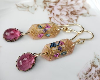 Antique Deco Glass Links, Vintage Glass Drops Gold Filled Earrings