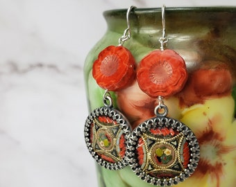Upcycled Antique Micro Mosaic Red Tan Floral,  Glass Flowers and Sterling Silver Earrings