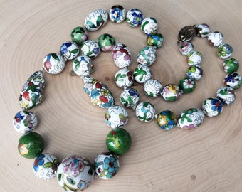 Vintage White Floral Cloisonne Bead Collection Knotted Necklace