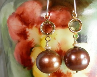 Coppery Bronze Freshwater Pearl and Crystal Gold Filled Earrings with Marquis Ear Wires