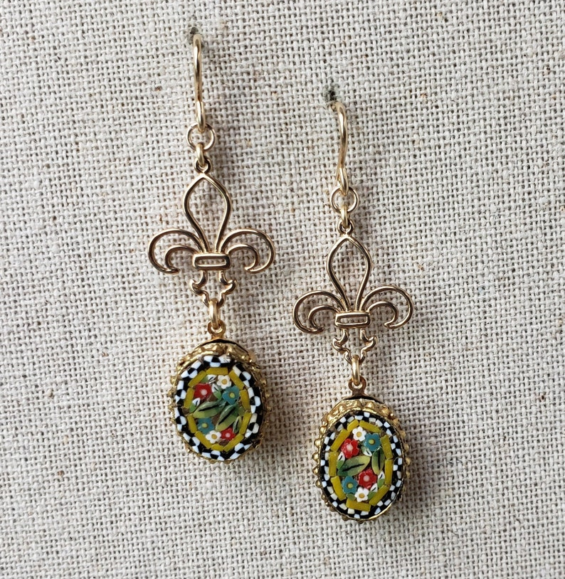 Vintage Micro Mosaic Yellow Mixed Floral Fleur de Lis and Gold Filled Earrings