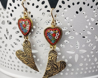 Vintage Re-purposed Floral Micro Mosaic Heart, Floral Etched Hearts Gold Filled Earrings