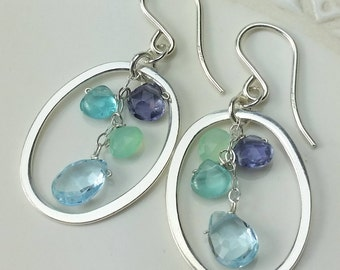 Earrings Iolite Blue Topaz Chalcedony Apatite Sterling Hoops Ear WIres Multigem Blues Aqua