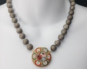 Vintage Upcycle Italian Micro Mosaic Silvery Druzy Quartz Beads Necklace