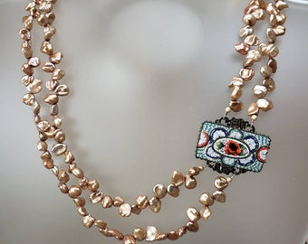 Vintage Upcycle Italian Floral Micro Mosaic 2 Strand Lt Copper Pearl Necklace