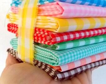 Vintage Gingham Fabric / Brown & White  / Fat Quarter